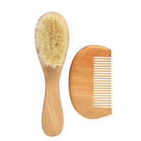 Soft Wool Baby Hairbrush Massage Comb Set Wooden Handle Brus...