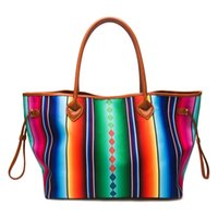 Venta al por mayor de lona azteca Weekender Bag Serape Tribal Tote Bag Large Cheyenne Stripes Purse Southwest Rainbow Handbag DOM-1081086