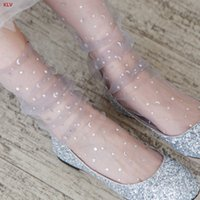 Womens Shiny Star And Moon Ankle Socks Sexy Soft Mesh Transp...