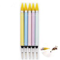 Nail Dotting Cire Crayon Tête Perles Strass Gemmes Sélecteur Autocollant Nail Tips Outil De Cueillette Pour Dotting Pen F2306
