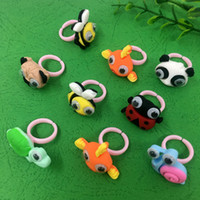 Kids Cute Cartoon Finger Rings Resin Candy Color Animals Flo...