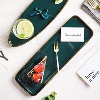 Vajilla plato verde de cerámica vajilla de porcelana Oro embutido placa de postre filete placa del bocado del pastel de ensalada de sopa Plato de Arroz
