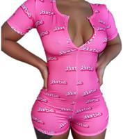 Kadınlar Sexy V Yaka Kısa Kollu BODYCON bodysuit Casual Baskılı Düğme pijamalar Jumpsuit Yaz için Şort Romper Leotard