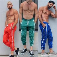 Pantalon Hiphop Hommes Bonbons Couleur GYM Fitness Jogger Pantalon À Rayures Designer Crayon Pantalon Casual Vêtements De Sport