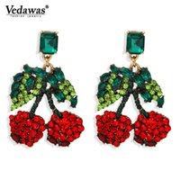 Ciondolo Dichiarazione Vedawas estate Trendy Red Cherry ciondola gli orecchini per le donne di cristallo di frutta Hanging orecchini gio