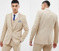 Newest Cool Beige And Fine Notch Lapel Wedding Groom Tuxedos...