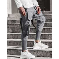 2020 Men Fashion New Multi- Pocket Patchwork Pants Casual Swe...