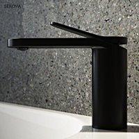 Rubinetti del lavandino del bagno Brass cromato nero placcato nero bianco vernice freddo e bacino rubinetto di lavandino a ponte a ponte montato miscelatore acqua tap1