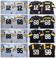 NCAA Football 12 Terry Bradshaw 68 L.C Greenwood 59 Jack Ham 88 Lynn Swann Jerseys 95 Greg Lloyd Negro Branco Homem Vintage Costurado Bom
