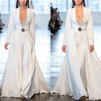 2019 Beyaz Gelinlik Tulumlar Uzun Kol Saten ile Uzun ceketler Abiye Giyim Artı boyutu elbiseler soirée Pantolon Suits Parti Elbise de
