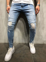 New Fashion Hip Hop Ripped Biker White Stripe Stitching Bottom Side Zipper Jeans Light BlueDestroyed Men Hole Jeans