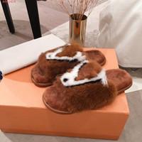 최신 고급스러운 밍크 모피 슬리퍼, 소프트 평면 오픈 발가락 슬립에 대형 이니셜과 노새, 패션 가정적인 플랫 뮬, 35-42 경량