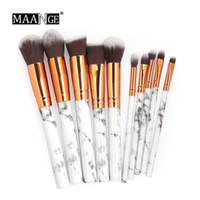 Maange 10Pcs patrón de mármol de cepillo del maquillaje de polvo cosmético de la Fundación de sombra de ojos del labio Hacer juegos instrumentos cepillos de la belleza fijados