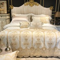 Wide Golden Lace Duvet  Comforter Cover Set Pink White Premi...
