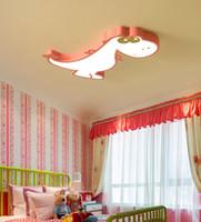 Çocuk odası LED tavan ışıkları Sıcak karikatür dinozor yatak odası erkek ve dişi oda göz koruması karartma demirden lambalar dövme ışıklar