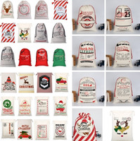 Regalo Casa Natale Sacchi riutilizzabile con coulisse di Santa Sack borse di tela Borsa Renna Elk Canvas coulisse Bag Renna regalo Borsa di stoccaggio