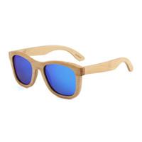 Взрыв модели специальные бамбуковые деревянные очки мода цветная пленка поляризованные очки плоский нос лазерный солнцезащитные очки B2006 солнцезащитные очки
