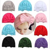 Niñas primavera 2019 Ins indio suave del estilo tejer sombrero para niños Accesorios niños del tamaño grande de arco Pretty Princess Sombrero