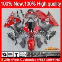 Corpo Kit per YAMAHA YZF 600 R YZF600 6 600cc YZF R6 03-05 59HC.6 YZFR6 YZF600 YZFR6 03 04 05 rosso nero caldo 2003 2004 2005 carenatura + 8Gifts