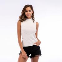 2019 Verão Camisola das Mulheres Sexy de Alta Collar Malha Cor Sólida Camisa Sem Mangas Rib Colete Mulheres Estilo Europeu e Americano