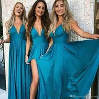 Sexy Günstige Teal Blau Chiffon Kleider Lange mit tiefem V-Ausschnitt bodenlangen Strand Plus Size Wedding Guest Kleid Maid of Honor Kleider