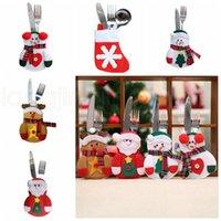 2000pcs Navidad cuchillo Fork Bolsas de Navidad Caramelo Bolsas Decoraciones de Navidad del muñeco de nieve de Santa Pequeño hogar creativo Vajilla Decoración RRA2181