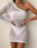 Tasarımcı Bir Omuz Plaj Dantel Kirli Hava Dişiler Beyaz Kalem Modelleri Kadın Seksi Hollow Out Elbise Yaz