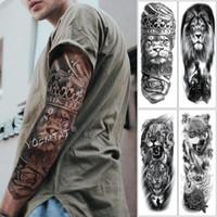 대형 암 슬리브 문신 사자 크라운 왕 로즈 방수 임시 문신 스티커 야생 늑대 호랑이 남성 전체 해골 토템 Tatto T190711