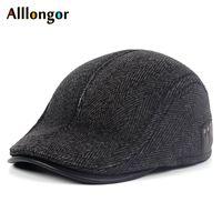 Alta Qualidade 2019 Inverno Newsboy Caps chapéu Peaky Retro Earflap listradas Beret Dad Chapéus Blinder For Men Cabbie Boné tweed Caps
