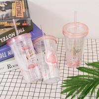 Оригинальность фламинго пластиковая Соломенная чашка прозрачная двухэтажная бутылка с водой Флэш-пленка для напитков стакан теплоизоляция холодная 8 2jlb1