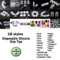18 stili silicone Drip Tip copertura in plastica boccaglio monouso in gomma di prova Consigli Tester Per ZERO Srorin PUFF Myle Vgod NORD Be 'serbatoio ausiliario