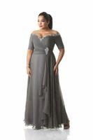 Graue Mutter der Brautkleider plus Größe aus der Schulter Günstige Chiffon-Prom-Partykleider lange Mutter Bräutigam Kleider Kleider
