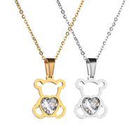 Charm Hohl KubikZircon Bär Gliederketten für die Dame Luxus Designerschmuck Frauen Halsketten-Goldfarbe Tier Anhänger Festival-Geschenk