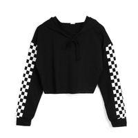 Sweat à capuche pour femmes Jumper Crop top Sports Pullover à carreaux Sweatshirts 2019High Quality