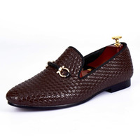 Harpelunde Woven Leather Men Dress Zapatos de boda Hebilla Correa Mocasines marrones Envío gratis Tamaño 6 a 14