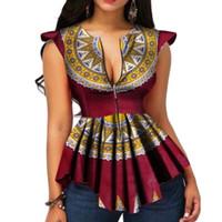 Yaz Vintage Etnik Şık Kırmızı Afrika Moda Kadınlar Bluzlar Casual Siyah İnce Retro Chic Ruffles Tops yazdır