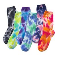 Hombre para mujer Calcetines de algodón Contraste Color High Street Funny Cycling Corriendo Senderismo Corbata Dye Hip Hop Socks