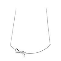 925 فضة bowknot سلسلة القلائد ل باندورا القوس تشيكوسلوفاكيا سوار الماس مع مربع الأصلي للنساء الفتيات الشحن المجاني