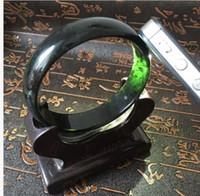 58-62mm chinês Vintage 100% Grade Preto Natural Jade Gems Bracelet Bangle A21