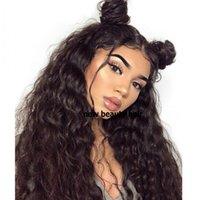 Bebek saçlı siyah Kadınlar Brezilyalı 13x4 Tutkalsız Dantel Frontal Peruk İçin Büyük saç Gevşek Dalga Peruk% 200 Dantel Açık Peruk sentetik