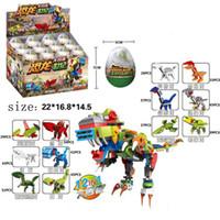 24 caixas em um jogo Dinosaur ovos montagem construção de presente bloqueia crianças pequenas partículas se encaixam brinquedos de quebra-cabeça