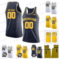 Personalizado Michigan Wolverines 2020 Baloncesto 2 Isaías Lentes 3 Zavier Simpson 15 Jon Teske 55 Eli Brooks Webber White Yellow Amarillo Azul Jersey