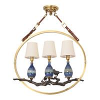 Americana ciondolo di rame lampade a LED paralume in tessuto sala da pranzo ceramica ciondolo illuminazione ciondolo retrò Lampadari luci infissi