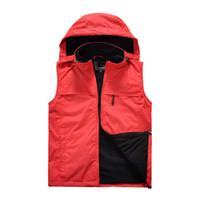 Al aire libre de carga Chaleco Chaleco para hombre Otoño Invierno Y además de terciopelo caliente del viento-Resistente Resistente al agua Deportes chaquetas con capucha desmontable