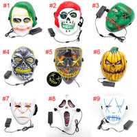 9 style Halloween Mask LED Light Up Party Masques La Purge Année D'élection Grand Drôle Masques Festival Cosplay Costume Fournitures Lueur Dans Noir