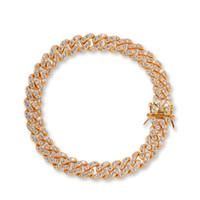 Iced Out 8MM Gold Silber Iced Out Cuban Link Armband Kupfer Material Haken Kettenarmband 08.07 / Zoll