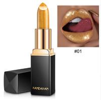 5 개 / 로트 반짝이 립스틱 금속 방수 긴 빛나는 온도 색 변경 레드 쉬머 립스틱 입술을 지속 Batom