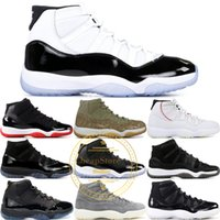 11S Men Prom Night 11 Basketball-Schuhe 72-10 Mütze und Kleid Space Jam 45 Gym Red Midnight Navy PRM-Erbin Barons Concord Bred Sport-Turnschuhe
