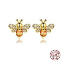 100 % 925 스털링 실버 귀여운 디자인 골드 범블 꿀벌 모양의 스터드 귀걸이 중국 실기 보석 도매
