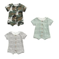 0- 18M Newborn Infant Baby Girls Boys Rompers Striped Camoufl...